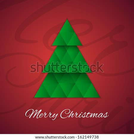 Christmas tree on red background. Greeting card. Vector illustration
