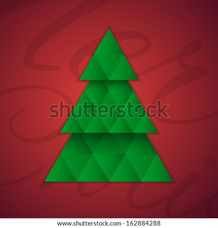 Christmas tree on red background. Greeting card. Vector illustration - stock vector