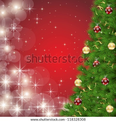 Christmas tree on red sparkle background - stock vector