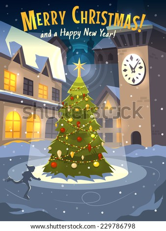 Christmas tree on rink in old town. Christmas card. Vector illustration. - stock vector