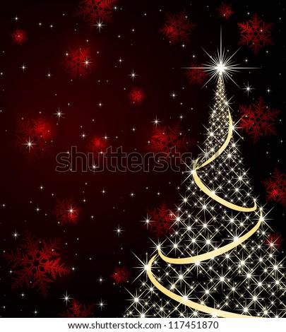 Christmas tree on snowflake background - stock vector