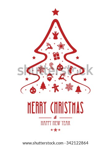 christmas tree ornament red isolated background - stock vector