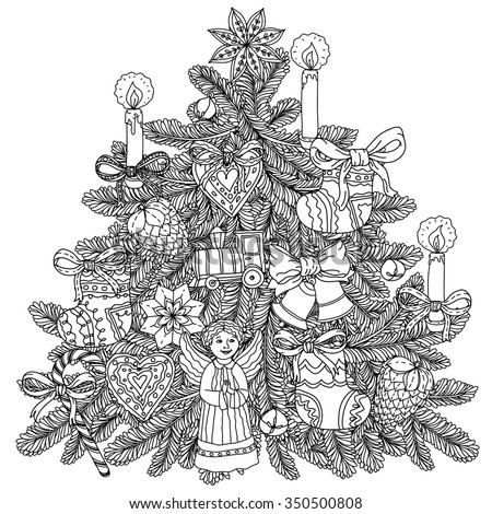 Christmas tree ornament with decorative items, Black and white . Zentangle patters.  The best for your design, textiles, posters, coloring book - stock vector