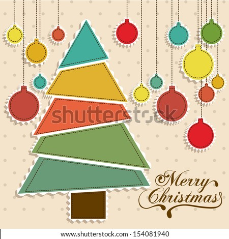 christmas tree over dotted background vector illustration - stock vector