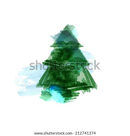christmas tree painting artistic background - vector - stock vector