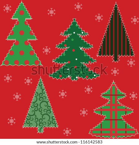 Christmas tree patchwork fabric seamless background