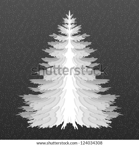 Christmas tree. Pine tree isolated. Black and white. Styled as paper cut. - stock vector