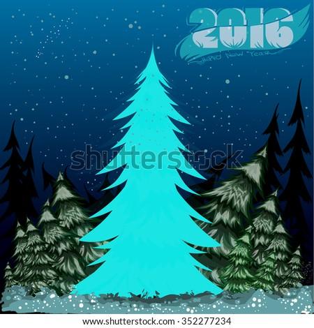 Christmas tree, postcard, brochure, poster Happy New Year - stock vector