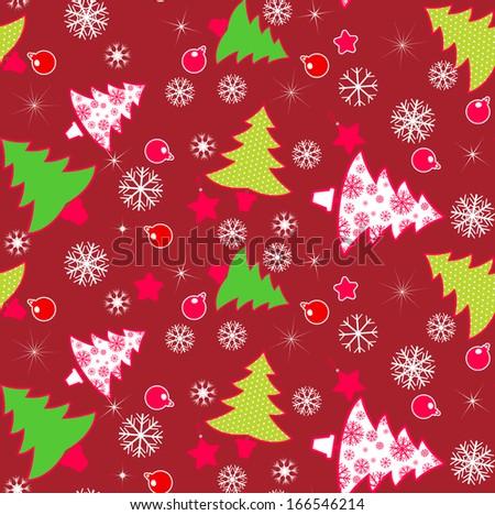 Christmas Tree Purple Seamless Pattern. Vector illustration - stock vector