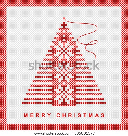 Christmas Tree, red and white embroidery with snowflakes, vector