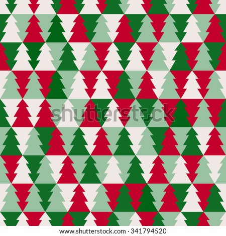 Christmas tree seamless pattern - stock vector