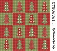 Christmas tree seamless pattern. Vector background in the style of patchwork. - stock vector