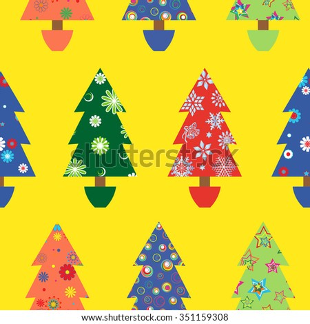 Christmas tree seamless vector pattern with colourful ornate decoration as a fabric detail over yellow background - stock vector