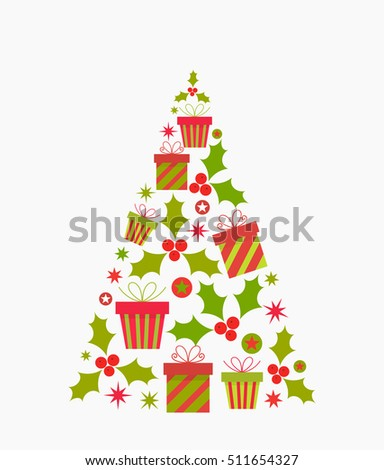 Christmas tree shape. Vector illustration
