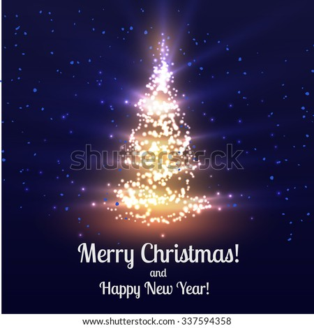 Christmas tree shiny vector background. Vector eps10. - stock vector