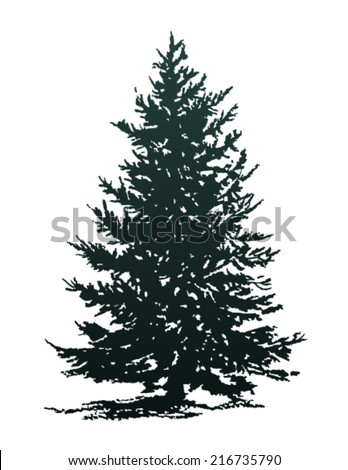 christmas tree silhouette - stock vector