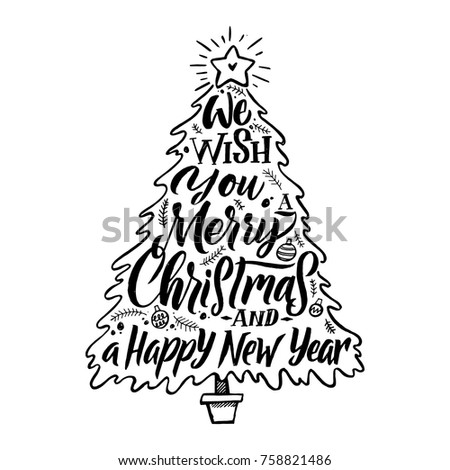 Christmas Tree Silhouette Calligraphic Card Merry And Happy New Year Congratulations Vector