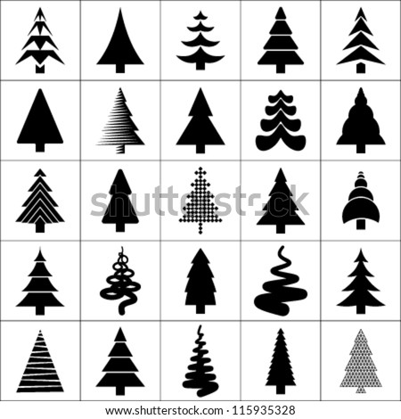 Christmas tree silhouette design vector set. Concept tree icon collection.Isolated on white background. - stock vector