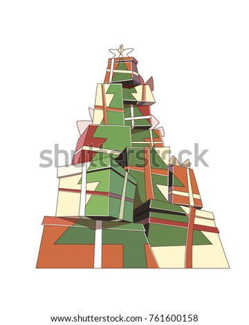 Christmas tree silhouette on a bunch of presents. Gift boxes. New Year eve vector illustration