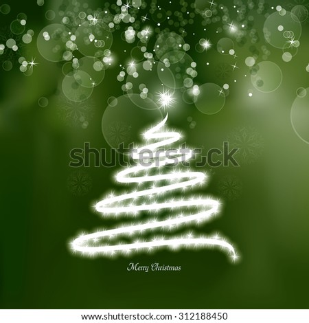 Christmas Tree Sparkly Background. - stock vector