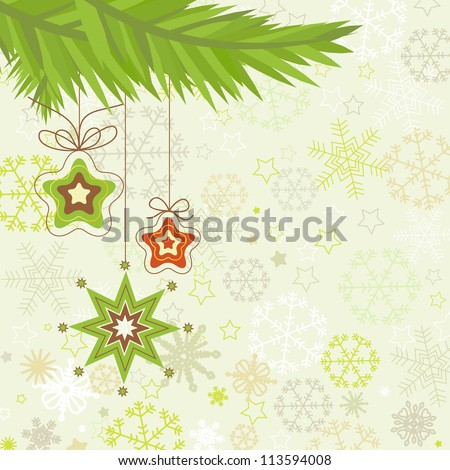 Christmas tree, star ornaments vector illustration - stock vector