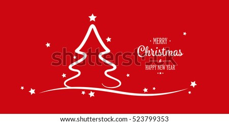 christmas tree stars greetings red background
