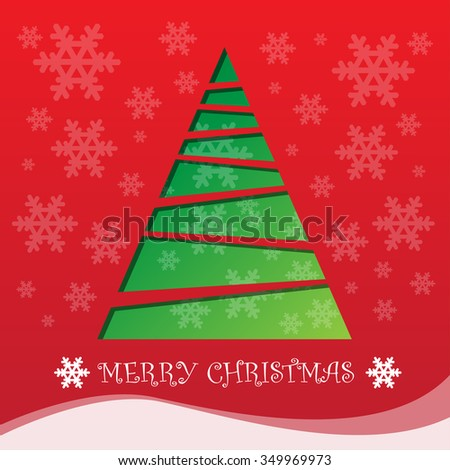 Christmas tree stencil and snow on red background vector illustration for Merry Christmas festival holiday.