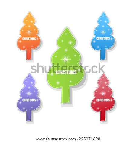Christmas tree sticker. vector - stock vector