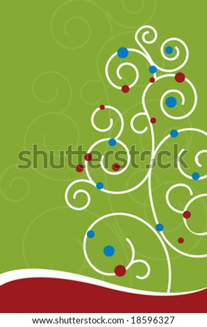 Christmas Tree Swirl Design (Vector) - stock vector