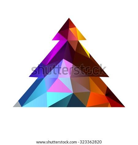 christmas tree triangle 10eps - stock vector
