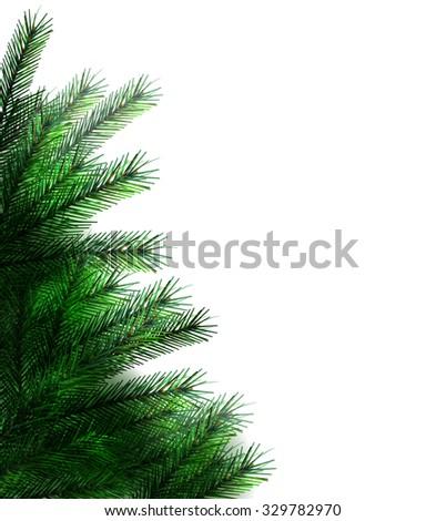 Christmas tree. vector border - stock vector
