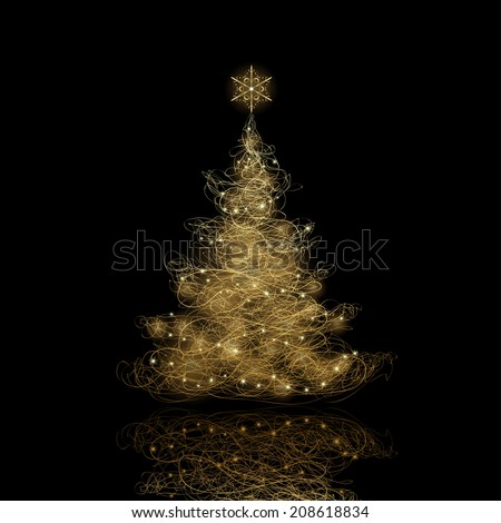 Christmas Tree, vector eps9. Background color can be changed without loosing the glow effect - stock vector