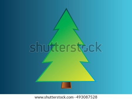 Christmas tree vector icon set silhouette design green color on blue background. Concept tree icon isolated collection with decorative winter object. Xmas holiday vector illustration with light.