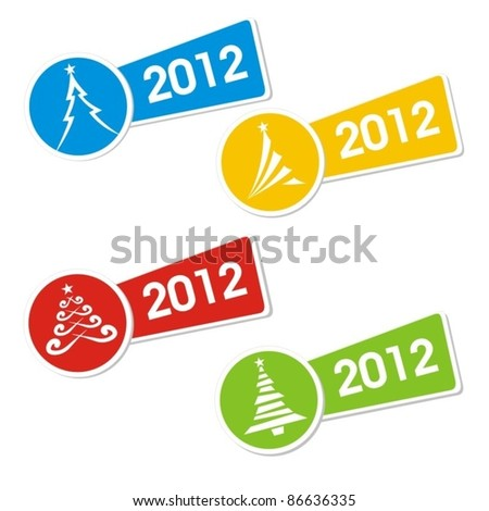 Christmas tree 2012. Vector  Labels / Stickers. - stock vector