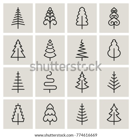 Christmas Tree Vector Line Icons Pine Stock Vector 2018 774616669