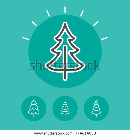 Christmas Tree Vector Stylized Simple Symbols Stock Vector 2018