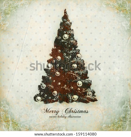 Christmas tree. Vintage vector Xmas card. Old paper texture background for holiday design. - stock vector