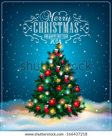 Christmas tree. Winter holidays landscape, vector illustration - stock vector