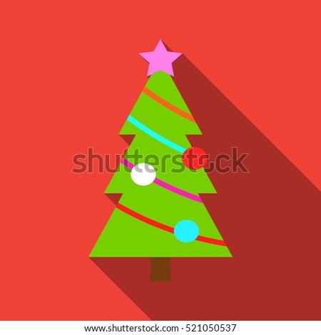 Christmas tree with abstract branches in flat design.