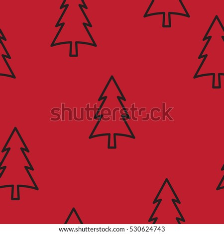 Christmas tree with abstract branches in flat design. Seamless.