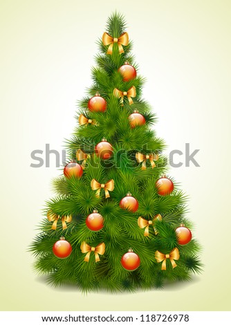 Christmas tree with balls and bows, vector illustration - stock vector