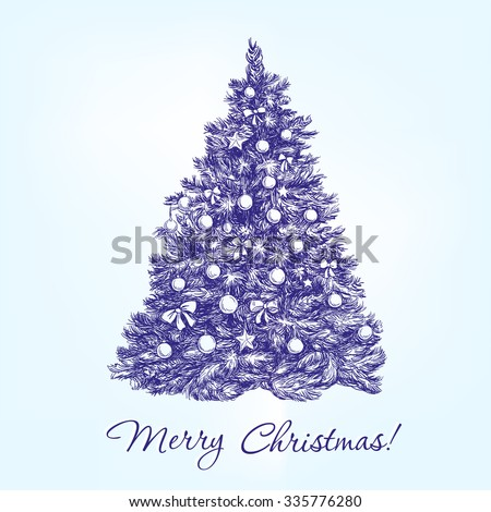 christmas tree  with balls hand drawn vector llustration  realistic  sketch - stock vector