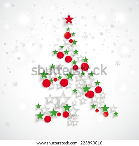 Christmas tree with baubles and stars on the white background. Eps 10 vector file. - stock vector