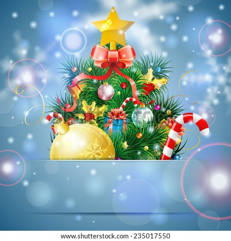 Christmas Tree with Candy, Fir Branches, Mistletoe and Gift in Pocket on Bright background, vector illustration. - stock vector