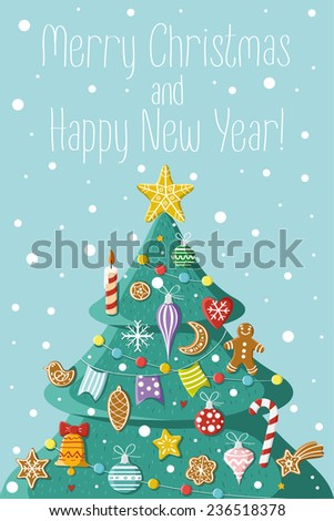 Christmas tree with Christmas decorations. Picture for prints, Christmas cards, decoration, covers, poster, print, banner, invitation. - stock vector