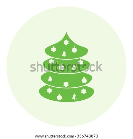 Christmas tree with Christmas toys - icon. Vector. - stock vector