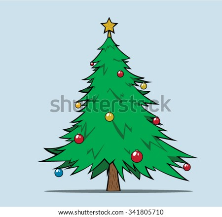 Christmas Tree with color balls - stock vector