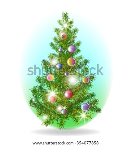 Christmas tree with colorful baubles - stock vector