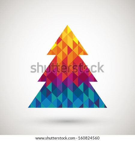 christmas tree with colorful diamond, vector illustration. - stock vector