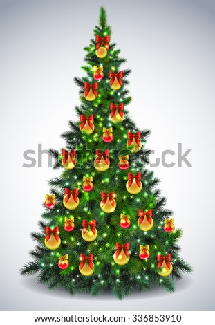Christmas tree with decoration, EPS 10 contains transparency. - stock vector